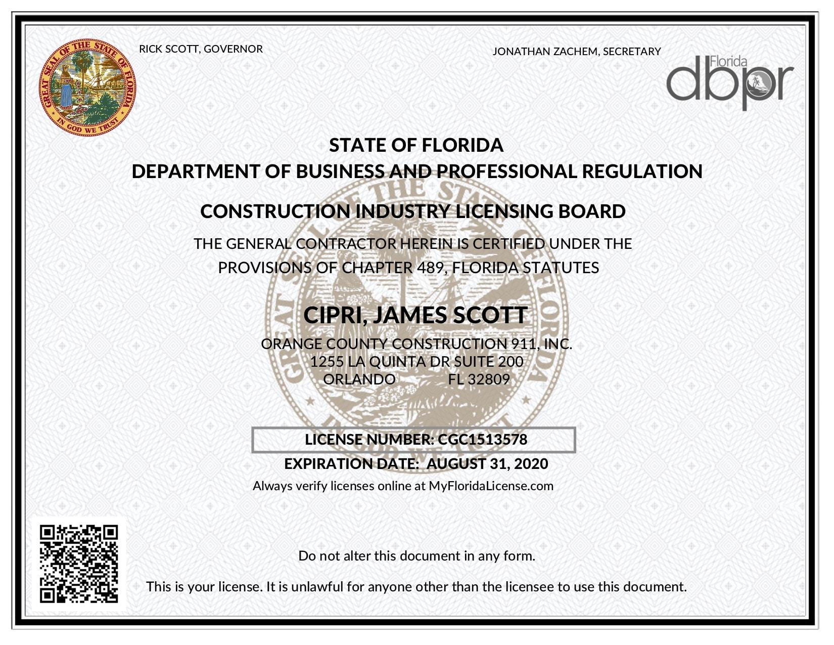 2019 CGC license - OCC