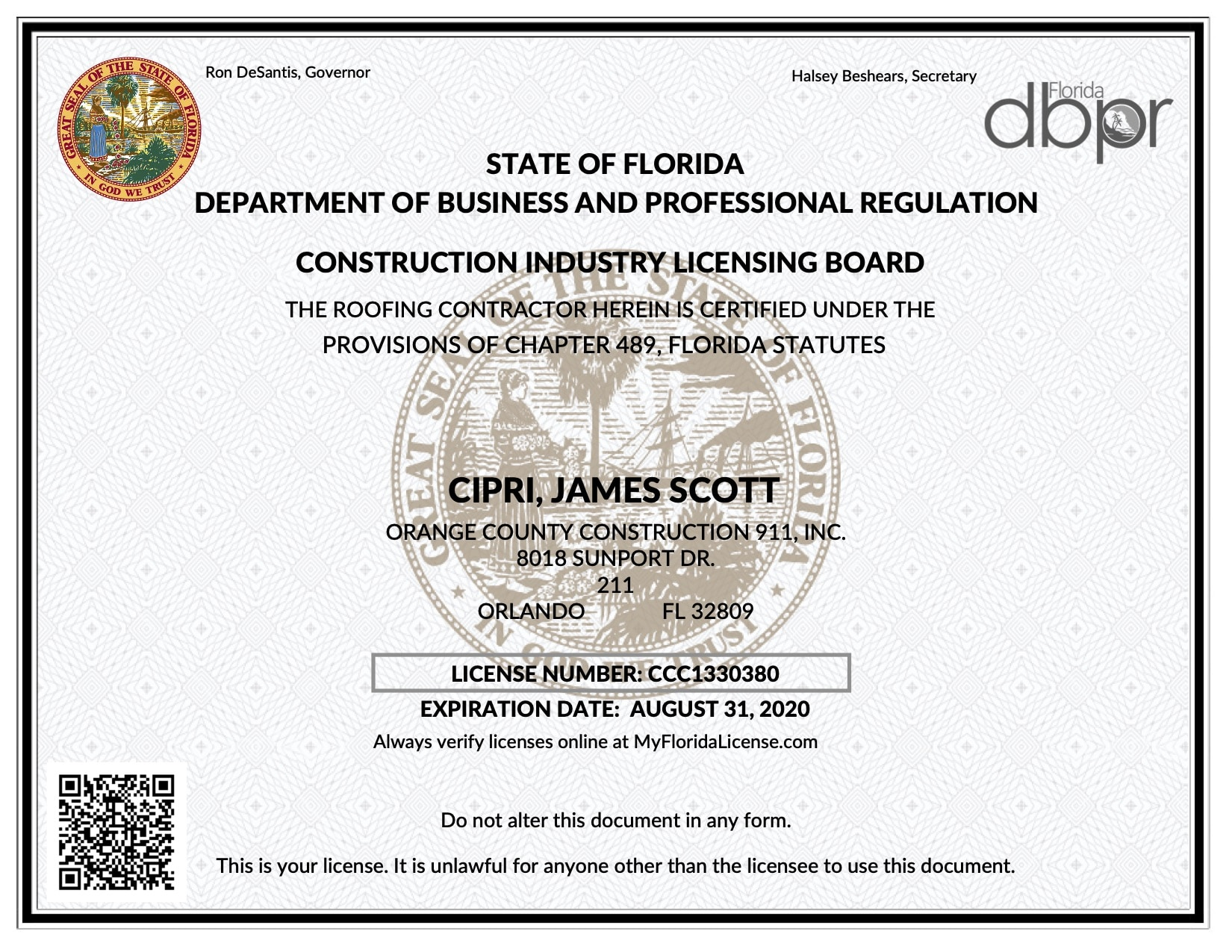 OC Roofing Contractor License